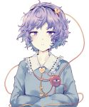 1girl :| blouse blue_blouse closed_mouth collar collared_blouse commentary_request crossed_arms eyebrows_visible_through_hair flat_chest frilled_collar frills hairband heart jitome komeiji_satori looking_at_viewer messy_hair purple_hair ribbon-trimmed_collar ribbon_trim short_hair simple_background solo string third_eye touhou upper_body uranaishi_(miraura) violet_eyes white_background