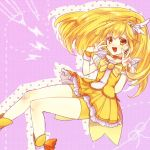 1girl :d bike_shorts blonde_hair cure_peace double_v kise_yayoi long_hair open_mouth orange_eyes precure purple_background rinhachi shadow smile smile_precure! solo v yellow_eyes