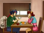 1girl blue_eyes bowl brown_hair chair chopsticks couple crabg domon_kasshu earrings food g_gundam gundam hairband headband jacket jewelry lipstick rain_mikamura short_hair table