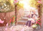 1girl blue_eyes chin_rest detached_sleeves flower food fruit grapes hair_ornament hairclip kagamine_rin outdoors shiramori_yuse short_hair sitting solo stairs vocaloid yuse