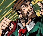 beard brown_eyes brown_hair clenched_hand facial_hair fist guilty_gear male manly monocle mustache necktie pipe slayer slayer_(guilty_gear) smile solo suparu_(detteiu) suparu_(pixiv1285501)