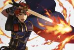 1boy armor aym_(ash3ash3ash) blue_armor blue_eyes cape fire fire_emblem fire_emblem:_fuuin_no_tsurugi gloves headband looking_at_viewer male_focus open_mouth redhead roy_(fire_emblem) short_hair simple_background sword weapon
