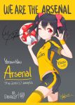 1girl arsenal_fc ball copyright_name highres love_live! love_live!_school_idol_project one_eye_closed puma_ag signature soccer_ball soccer_uniform sportswear thigh-highs trane7nine yazawa_nico