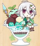 1girl :o antenna_hair bangs breasts bridal_gauntlets brown_footwear chocolate commentary_request cream dress eyebrows_visible_through_hair flower food green_dress gucchiann hair_between_eyes hair_flower hair_ornament ice_cream kokkoro_(princess_connect!) long_hair looking_at_viewer macaron minigirl mint parted_lips pointy_ears princess_connect! red_eyes sidelocks silver_hair sitting small_breasts solo twitter_username white_flower