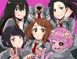 6+girls ashido_mina asui_tsuyu black_hair black_sclera blue_hair blush_stickers boku_no_hero_academia brown_hair hagakure_tooru horns index_finger_raised invisible jirou_kyouka looking_at_viewer monotsuki multiple_girls one_eye_closed pink_background pink_hair pink_skin red_neckwear school_uniform serafuku simple_background smile sparkle uraraka_ochako v yaoyorozu_momo