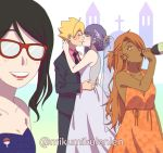 1boy 3girls akimichi_chouchou alternate_hairstyle ariamikukanzaki black_hair blonde_hair blush boruto:_naruto_next_generations bottle braided_bun breasts bridal_veil brown_eyes brown_hair cleavage dark_skin dress drinking flower formal glasses hair_bobbles hair_bun hair_flower hair_ornament hair_up highres kakei_sumire kiss multiple_girls necktie purple_hair self_shot strapless strapless_dress suit uchiha_sarada uchiha_symbol uzumaki_boruto veil wedding wedding_dress wine_bottle