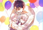 1girl 2boys balloon blush casual closed_eyes closed_mouth eyebrows_visible_through_hair family fate/grand_order fate_(series) father_and_daughter father_and_son galahad_(fate) grand_dobu hair_between_eyes holding_balloon hug hug_from_behind lancelot_(fate/grand_order) mash_kyrielight multiple_boys one_eye_covered open_mouth purple_hair short_hair smile yellow_eyes