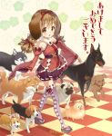 1girl animal_ears beagle blue_eyes blush braid brown_eyes brown_hair checkered checkered_floor chinese_zodiac detached_sleeves doberman dog dog_ears dog_request floral_background hair_ribbon highres husky long_sleeves looking_at_viewer original pleated_skirt pomeranian_(dog) pug purple_legwear purple_skirt red_ribbon ribbon sandals shiba_inu skirt standing thigh-highs tomiwo tongue tongue_out twitter_username walking wide_sleeves year_of_the_dog