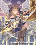 1girl angel_wings axe braid breasts brown_eyes brown_hair building circlet clouds feathers flying holding holding_axe large_breasts long_hair looking_at_viewer official_art outdoors skyline skyscraper solo sparkle tomiwo twilight venus_rumble white_feathers white_wings wings