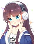 1girl :d azur_lane bangs bare_shoulders blue_eyes blue_jacket blush brown_hair clothes_writing collarbone commentary_request eyebrows_visible_through_hair fingernails hands_on_own_cheeks hands_on_own_face headphones jacket leng_xiao long_hair long_island_(azur_lane) nail_polish off-shoulder_shirt open_mouth pink_nails shirt sidelocks simple_background smile solo sparkle very_long_hair white_background white_shirt