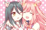2girls :d ;d ^_^ animal_ears bangs bare_shoulders black_hair blush blush_stickers brown_eyes cheek-to-cheek closed_eyes closed_mouth commentary_request eyebrows_visible_through_hair gucchiann hair_between_eyes hair_ornament hair_rings kashiwazaki_hatsune kashiwazaki_shiori light_brown_hair long_hair multiple_girls one_eye_closed open_mouth pink_background pointy_ears polka_dot polka_dot_background princess_connect! sidelocks smile star star_hair_ornament very_long_hair