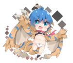 1girl :d bangs belt_buckle beltbra black_belt black_legwear blue_eyes blue_hair blush bow bow_panties breasts brown_hair brown_wings buckle commentary_request eyebrows_visible_through_hair fang gradient_hair hair_between_eyes milkpanda monster_girl monster_hunter multicolored_hair navel no_shoes open_mouth panties personification pink_scarf pointy_ears scarf small_breasts smile socks solo standing standing_on_one_leg tail underwear v-shaped_eyebrows white_panties wings