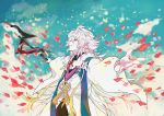 1boy absurdres closed_eyes ebanoniwa fate/grand_order fate_(series) grin hair_ornament highres male_focus merlin_(fate/stay_night) outstretched_arms petals robe smile solo spread_arms staff white_hair