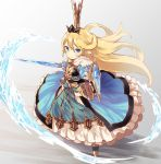 1girl :> blonde_hair blue_dress blue_eyes blush breastplate charlotta_fenia commentary_request crown dress frilled_skirt frills from_above furrowed_eyebrows gauntlets gradient gradient_background granblue_fantasy greaves grey_background hair_between_eyes hair_blowing highres layered_dress long_hair looking_at_viewer nuqura outstretched_arm pointy_ears shield skirt smile solo standing sword very_long_hair water weapon wind