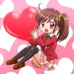 1girl :d ahoge black_legwear blazer blush_stickers brown_footwear brown_hair chibi commentary_request eyebrows_visible_through_hair graphite_(medium) green_ribbon hair_between_eyes hair_ornament hair_scrunchie heart heart_background highres hoshikawa_tsukimi jacket loafers long_sleeves looking_at_viewer millipen_(medium) open_mouth original over-kneehighs pink_background plaid plaid_skirt red_blazer red_eyes ribbon scrunchie shoes short_hair side_ponytail sidelocks sitting skirt smile solo thigh-highs traditional_media uniform waistcoat yellow_scrunchie