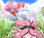 1girl ^_^ barefoot blue_sky blush_stickers closed_eyes clouds commentary_request day facing_to_the_side grass happy japanese_clothes kikurage_(sugi222) kimono kodomo_no_hi koinobori lavender_hair long_sleeves minigirl mountain needle obi open_mouth outdoors outstretched_arms paper_hat paper_kabuto petticoat road running sash short_hair sky solo spread_arms sukuna_shinmyoumaru touhou