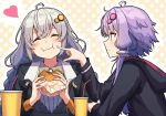 2girls :t ahoge amekaze_yukinatsu bangs blush braid cheek_poking closed_eyes commentary_request cup disposable_cup drinking_straw eating facing_viewer food food_on_face grey_hair hair_ornament hair_tubes hamburger heart highres holding holding_food hood hood_down hoodie jacket kizuna_akari long_hair long_sleeves looking_at_another low_twintails multiple_girls poking polka_dot polka_dot_background profile purple_hair short_hair_with_long_locks sidelocks twin_braids twintails upper_body violet_eyes vocaloid voiceroid yuzuki_yukari