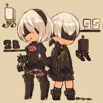 1boy 1girl bangs black_coat black_dress black_gloves black_hairband black_legwear black_shorts blindfold bob_cut buttons character_name chibi closed_mouth coat covered_eyes dress feather-trimmed_sleeves feather_trim frown full_body gloves hairband highres legs_apart mole mole_under_mouth nier_(series) nier_automata pod_(nier_automata) puffy_short_sleeves puffy_sleeves short_dress short_hair short_sleeves shorts silver_hair simple_background smile standing sunagimo_(nagimo) thigh-highs twitter_username yellow_background yorha_no._2_type_b yorha_no._9_type_s zettai_ryouiki