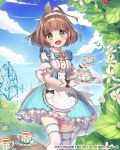 1girl :d blue_dress blue_sky blush chano_hinano character_request cup dated day detached_sleeves dress fence flower gate gloves green_eyes hedge_(plant) highres holding holding_plate iron_fence looking_at_viewer maid medium_hair official_art open_mouth outdoors path plant plate puffy_short_sleeves puffy_sleeves road saucer short_sleeves sky smile table teacup teapot thigh-highs venus_rumble watermark white_gloves white_legwear