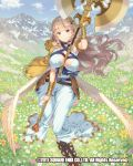 1girl armlet axe blue_dress blue_sky bracer braid breasts cleavage clouds dated day dress field flower flower_field full_body hair_ornament holding holding_weapon large_breasts long_hair looking_at_viewer mountain official_art outdoors sky smile tomiwo venus_rumble very_long_hair violet_eyes watermark weapon wings