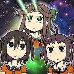 3girls antenna_hair brown_eyes brown_hair hair_bun hair_ornament jintsuu_(kantai_collection) kantai_collection kou1 laser_beam long_hair multiple_girls naka_(kantai_collection) school_uniform sendai_(kantai_collection) sky space space_cat_(meme) star_(sky) starry_sky twintails uniform upper_body wide-eyed
