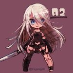 1girl android arms_at_sides bare_shoulders black_gloves black_legwear blue_eyes character_name chibi elbow_gloves emphasis_lines eyelashes full_body gloves hair_between_eyes highres holding holding_sword holding_weapon katana legs_apart long_hair looking_at_viewer mole mole_under_mouth nier_(series) nier_automata no_nose purple_background robot_joints silver_hair simple_background single_thighhigh solo straight_hair sunagimo_(nagimo) sword thigh-highs twitter_username very_long_hair weapon yorha_type_a_no._2