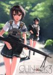 2girls bangs black_eyes black_hair blurry blurry_background closed_mouth dreadtie dress_shirt earphones gun hair_ornament hairclip highres loafers looking_at_viewer looking_to_the_side multiple_girls open_mouth original outdoors pleated_skirt running shirt shoes short_hair skirt swept_bangs weapon