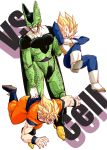 3boys annoyed armor blonde_hair boots cell_(dragon_ball) character_name d: dougi dragon_ball dragonball_z frown full_body looking_down male_focus multiple_boys nervous open_mouth outstretched_arms perfect_cell senka-san short_hair simple_background son_gokuu spiky_hair super_saiyan sweatdrop vegeta vs white_background wristband