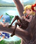 2girls araki_(qbthgry) artist_name black_footwear black_legwear black_skirt blonde_hair blue_dress blue_eyes blue_hair blue_sky bow cat cirno commentary_request dated day dress expressionless eyebrows_visible_through_hair fang forest hair_between_eyes hair_bow hair_ribbon hand_to_forehead hanging holding holding_cat in_tree lake loafers long_sleeves looking_at_viewer looking_to_the_side mountain multiple_girls nature necktie open_mouth outdoors red_eyes red_neckwear ribbon rumia shirt shoes short_hair short_sleeves skirt sky thigh-highs touhou tree waistcoat white_shirt wings
