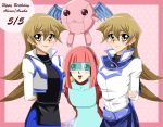 arms_behind_back arms_crossed blonde_hair blush cyber_petit_angel deviantart gold_eyes happy happy_birthday pink_background pink_hair selfmade sincity2100 smile tenjouin_asuka twins white_jacket yu-gi-oh! yuu-gi-ou_arc-v yuu-gi-ou_gx