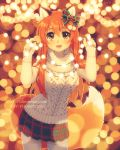 1girl :d animal_ears brown_eyes christmas_lights commentary cowboy_shot dav-19 english_commentary fox_ears fox_girl hair_ribbon happy holding long_hair long_sleeves looking_at_viewer miniskirt open_mouth orange_hair original pleated_skirt ribbon signature skirt sleeves_past_wrists smile solo standing sweater thigh-highs turtleneck turtleneck_sweater watermark web_address white_legwear winter_clothes zettai_ryouiki