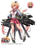 1girl ah-64d_(rick_g_earth) amatsuki_colors blonde_hair bracelet candy chibi_inset commentary_request copyright_name food full_body hair_between_eyes hair_ornament hand_on_hip jewelry lollipop long_hair loose_socks missile one_side_up pink_skirt red_eyes rick_g_earth sidelocks simple_background skirt solo standing thigh_strap very_long_hair white_background white_legwear