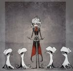 1boy antonio_salieri_(fate/grand_order) book fate/grand_order fate_(series) formal red_eyes simple_background suit tim_burton_(style) waistcoat white_hair white_skin yojigazou