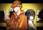1boy 1girl back-to-back blonde_hair blue_hair bob_cut cabbie_hat capelet commentary cosplay darling_in_the_franxx glasses gorou_(darling_in_the_franxx) green_eyes grin hat ichigo_(darling_in_the_franxx) magnifying_glass necktie plaid poster rochika_(ya_y_a_ya) sherlock_holmes sherlock_holmes_(cosplay) shirt short_hair smile trench_coat vest wanted white_shirt