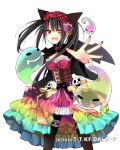 1girl ;d animal_ears asymmetrical_hair black_capelet black_hair black_legwear black_wings breasts capelet cat_ears cleavage clock_eyes corset cowboy_shot date_a_live dress fang floating_hair flower ghost hair_flower hair_ornament halloween halloween_costume head_wreath heterochromia hibiki_mio jewelry long_hair medium_breasts multicolored multicolored_clothes multicolored_dress nail_polish one_eye_closed open_mouth pantyhose red_eyes red_flower red_nails ribbon-trimmed_sleeves ribbon_trim ring simple_background smile solo standing symbol-shaped_pupils tokisaki_kurumi transparent white_background wings yellow_eyes