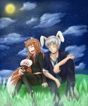 1boy 1girl animal_ears black_legwear black_serafuku blue_jacket blue_pants boots brown_hair closed_eyes clouds collarbone commentary_request craft_lawrence fake_animal_ears fan full_moon hair_ornament hairclip highres holding holding_fan holo jacket moon necktie night night_sky pants pantyhose paper_fan rabbit_ears red_neckwear school_uniform serafuku silver_hair sitting sky smile spice_and_wolf star_(sky) sylphya tail wolf_ears wolf_tail