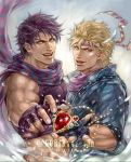 2boys artist_name bandanna bare_shoulders battle_tendency blonde_hair blue_gloves blue_scarf caesar_anthonio_zeppeli feathers fingerless_gloves gem gloves goriraneesan hair_feathers jacket jewelry jojo_no_kimyou_na_bouken joseph_joestar_(young) looking_at_viewer midriff multiple_boys muscle open_mouth pendant purple_gloves purple_hair scarf smile striped striped_scarf tank_top twitter_username upper_body winged_hair_ornament