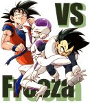 3boys ;) black_eyes black_hair boots character_name clenched_hand commentary_request d: dougi dragon_ball dragonball_z frieza full_body gloves looking_at_another looking_at_viewer looking_down male_focus multiple_boys nervous one_eye_closed open_mouth outstretched_arms red_eyes senka-san short_hair simple_background smile son_gokuu spiky_hair sweatdrop tail tears vegeta vs white_background wristband