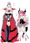 2girls bare_shoulders blue_eyes blush boots bow breasts carmilla_(fate/grand_order) cleavage curled_horns detached_sleeves dual_persona elizabeth_bathory_(fate) elizabeth_bathory_(fate)_(all) fate/grand_order fate_(series) large_breasts looking_at_another meeko multiple_girls open_mouth pink_bow pink_hair revealing_clothes sketch sweatdrop tail tail_bow thigh-highs thigh_boots time_paradox translation_request white_background white_hair yellow_eyes