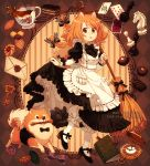 1girl :o ace_of_spades animal animal_ears apron artist_name bishop_(chess) book bow bowtie braid broom brown_hair card chess_piece chocolate cup dav-19 dog dog_ears dog_girl dog_tail dress dress_lift duster frilled_dress frills full_body hair_bow key knight_(chess) letter long_hair maid maid_apron mouth_hold original pastry pawn playing_card pocket_watch pomeranian_(dog) tail tea teacup twin_braids watch wrist_cuffs