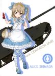 1girl absurdres alice_(wonderland) alice_(wonderland)_(cosplay) apron bangs blue_bow blue_dress blue_footwear blue_ribbon bow brown_eyes brown_hair centurion_(tank) character_name chess_piece cosplay diadem dress eyebrows_visible_through_hair frilled_dress frills full_body girls_und_panzer gloves ground_vehicle hair_between_eyes hair_bow head_tilt highres holding king_(chess) long_hair looking_at_viewer mary_janes military military_vehicle motor_vehicle neck_ribbon ribbon shimada_arisu shoes short_sleeves side_ponytail standing striped striped_legwear tank white_apron white_background white_gloves