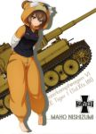 1girl absurdres animal_costume animal_hood bandage bangs barefoot black_jacket boko_(girls_und_panzer) brown_eyes brown_hair character_name eyebrows_visible_through_hair full_body girls_und_panzer ground_vehicle hair_between_eyes highres hood jacket leaning_forward military military_vehicle motor_vehicle nishizumi_maho short_hair solo standing tank tiger_i white_background