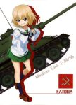 1girl absurdres black_neckwear blonde_hair blue_eyes blue_legwear brown_footwear character_name collarbone eyebrows_visible_through_hair girls_und_panzer grin ground_vehicle hair_between_eyes head_tilt highres katyusha loafers looking_at_viewer military military_vehicle miniskirt motor_vehicle neckerchief one_leg_raised ooarai_school_uniform oversized_clothes pleated_skirt shirt shoes short_hair skirt smile solo standing standing_on_one_leg t-34 tank uniform white_background white_shirt