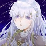 1girl blue_eyes diadora_(fire_emblem) dress fire_emblem fire_emblem:_seisen_no_keifu jewelry looking_at_viewer necklace shooting_star solo wavy_hair white_hair