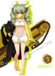 1girl absurdres anchovy bangs barefoot blunt_bangs carro_veloce_cv-33 character_name drill_hair eyebrows_visible_through_hair full_body girls_und_panzer green_hair ground_vehicle hair_between_eyes hair_ribbon highres holding long_hair looking_at_viewer military military_vehicle mole mole_under_eye motor_vehicle puffy_shorts red_eyes ribbon see-through shorts sleeveless smile solo standing tank twin_drills twintails white_background white_ribbon white_shorts