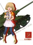 1girl absurdres animal apron blonde_hair blue_pants character_name closed_eyes collarbone dog eyebrows_visible_through_hair fang full_body girls_und_panzer ground_vehicle hair_between_eyes highres holding holding_animal katyusha military military_vehicle motor_vehicle open_mouth orange_shirt pants shirt shoes short_hair short_sleeves smile sneakers solo standing striped t-34 tank vertical-striped_apron vertical_stripes white_apron white_background yellow_footwear