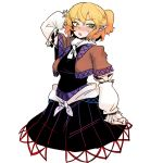 1girl blush detached_sleeves green_eyes highres mizuhashi_parsee no_legs pigeoncrow pointy_ears scratching_head short_hair solo touhou