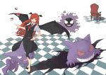 1girl bangs bare_arms bat_wings black_footwear black_skirt black_vest black_wings bright_pupils buttons chair checkered checkered_floor collared_shirt crossover demon_girl eyebrows eyelashes fangs full_body gastly gen_1_pokemon gengar hand_on_hip haunter head_wings highres koakuma long_hair looking_at_viewer necktie open_mouth pink_eyes pink_pupils pointy_ears poke_ball poke_ball_(generic) pokemon pokemon_(creature) red_neckwear redhead shadow shirt shoes skirt skirt_set solo standing tongue touhou ueno_(sakumogu-029) vest white_shirt wings
