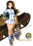 1girl ;) absurdres asymmetrical_bangs bangs black_hair boots breasts brown_eyes character_name checkered checkered_flag cleavage flag floating_hair girls_und_panzer helmet highres holding holding_flag holding_helmet long_hair looking_at_viewer medium_breasts miniskirt nishi_kinuyo one_eye_closed one_leg_raised partially_unzipped pleated_skirt skirt smile solo standing standing_on_one_leg white_background white_skirt