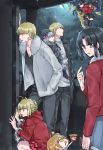 2boys 5girls 88_(einnimnech) ahoge apartment black_hair black_legwear black_skirt blonde_hair casual commentary_request crescent_moon drooling dual_persona earrings fate/grand_order fate_(series) flying food fujimaru_ritsuka_(female) fur_trim gilgamesh gilgamesh_(caster)_(fate) gleam green_eyes grey_eyes hand_in_pocket highres holding holding_knife ice_cream ishtar_(fate/grand_order) jacket japanese_clothes jewelry kimono knife leather leather_jacket long_sleeves looking_at_another looking_up moon multiple_boys multiple_girls nero_claudius_(fate) nero_claudius_(fate)_(all) night night_sky nursery_rhyme_(fate/extra) open_clothes open_jacket open_mouth orange_eyes orange_hair pants pointing pointing_at_self red_eyes red_jacket riyo_(lyomsnpmp)_(style) ryougi_shiki short_hair silver_hair skirt sky squatting star_(sky) thigh-highs twintails twitter_username